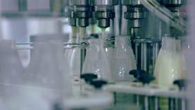 Processo de manufatura na fábrica do leite Indústria de leiteria Linha de produção automatizada video estoque