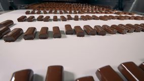 Processo de manufatura na fábrica dos doces Close-up vídeos de arquivo
