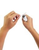 Processo de manutenção do cigarro eletrônico Foto de Stock