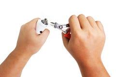 Processo de manutenção do cigarro eletrônico Imagens de Stock Royalty Free