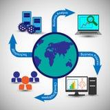 Processo de negócios globalmente de conexão, executivos ou clientes, sistemas de vigilância da empresa Fotos de Stock Royalty Free