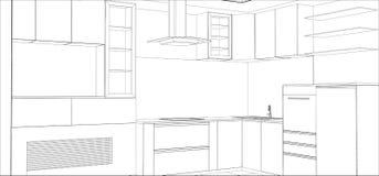 Processo de projeto do vetor na ilustração do fio-quadro ilustração do vetor