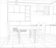 Processo de projeto do vetor na ilustração do fio-quadro ilustração stock