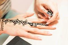 Processo del disegno dell'ornamento di menhdi del hennè sulla mano della donna Fotografia Stock