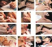 Processo del manicure del collage nel salone di bellezza Primo piano fotografia stock libera da diritti