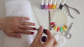 Processo del manicure nel salone di bellezza video d archivio