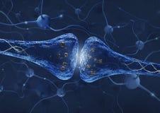 Processo della sinapsi sopra il fondo del collegamento del neurone - 3D ha reso l'immagine Immagine Stock