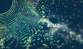 Processo di codifica astratto Infographic futuristico di grandi dati Griglia variopinta della particella con bokeh illustrazione vettoriale
