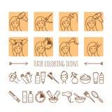Processo di coloritura dei capelli Linea sottile icone Fotografie Stock