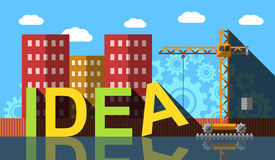 Processo di costruzione di parola di idea, illustrazione astratta Immagine Stock