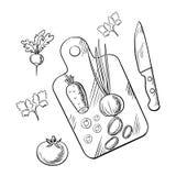 Processo di cottura di insalata vegetariana sana Immagine Stock