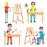 Processo di creare Art Picture e di fabbricazione degli origami royalty illustrazione gratis