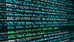 Processo di estrazione mineraria della valuta cripto digitale Animazione senza cuciture astratta del ciclo di tecnologia di crypt illustrazione di stock