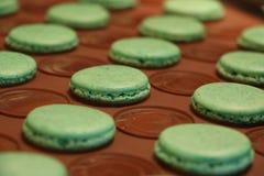 Processo di fabbricazione dei macarons Appena macarons verdi finiti sullo strato di cottura del silicone Immagini Stock