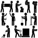 Processo di fabbricazione Lavoro manuale duro Figura icona del bastone del pittogramma Illustrazione di vettore illustrazione vettoriale