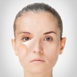 Processo di invecchiamento, procedure antinvecchiamento della pelle di ringiovanimento immagini stock