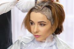 Processo di morte dei capelli, salone di bellezza fotografia stock