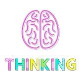 Processo di pensiero e Brain Icon Colorful Card illustrazione vettoriale