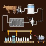 Processo di produzione di latte illustrazione vettoriale