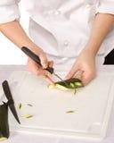 Processo di scultura dello zucchini Fotografia Stock Libera da Diritti