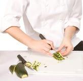 Processo di scultura dello zucchini Fotografie Stock