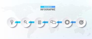 Processo do espaço temporal de Infograph com círculos Fluxograma do diagrama com moldes do ícone Ilustração do vetor ilustração stock