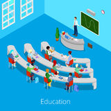 Processo educacional isométrico Sala de leitura lisa da universidade 3d com professor e estudantes Fotografia de Stock Royalty Free