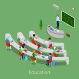 Processo educacional isométrico Sala de leitura lisa da universidade 3d com professor e estudantes Imagens de Stock