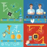 Processo moderno della catena di montaggio di tecnologia automatizzato industriale Fotografia Stock Libera da Diritti