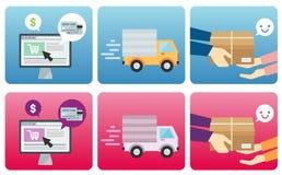 Processo online di acquisto Immagine Stock