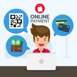 Processo online di pagamento di servizio di acquisto per il prodotto dell'acquisto Fotografia Stock