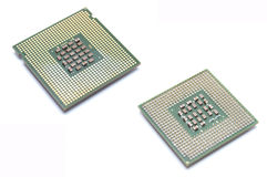 Processor. Two processor isolated on white, focus in center Stock Photos