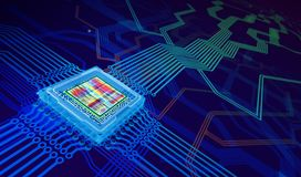 Processor Abstract Background. Abstract technology background. 3D illustration Stock Image
