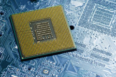 Processor on blue circuit board with gold-plated contacts close up. Bottom view from the pins side Stock Photography