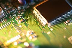 Processor chip on circuit board royalty free stock images