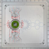 Processor Chip on circular metallic device connected with circuit Stock Photography