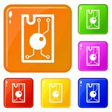 Processor chip icons set vector color. Processor chip icons set collection vector 6 color isolated on white background stock illustration