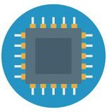 Processor chip, microchip, Isolated Vector icons that can be easily modified or edit stock illustration