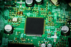 Processor chip. Microcontroller on a circuit board development Stock Photo
