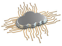 Processor or chip on white background. Cloud computing. 3d stock illustration