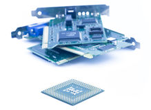 Processor and computers components. On white background Royalty Free Stock Image