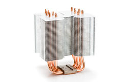 Processor cooler with heat pipe on white background Stock Image
