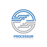 Processor CPU - vector logo template for corporate identity. Abstract computer chip sign. Network, internet technology concept Stock Image