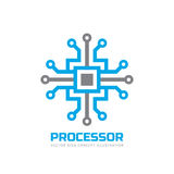 Processor CPU - vector logo template for corporate identity. Abstract computer chip sign. Network, internet technology concept. Stock Image