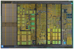 Processor crystal. The following internal structure of a modern processor Stock Photo