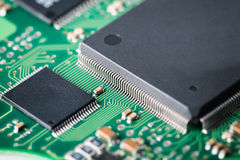 Processor with electronic circuit board closeup Royalty Free Stock Photography