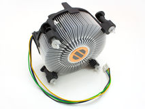 The processor fan. Fan on the white background. The fan of the processor with a wire for a food Royalty Free Stock Photos