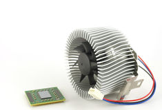 Processor and fan with radiator Royalty Free Stock Photo