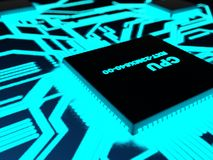 Processor with glowing blue paths Royalty Free Stock Photos