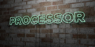 PROCESSOR - Glowing Neon Sign on stonework wall - 3D rendered royalty free stock illustration Stock Photography